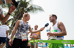 Journalist Antonija Razen of TV Slovenija and Sandi Novak of Slovenia in the mixed zone of the Men's Marathon - T12 Final during Day 11 of the Rio 2016 Summer Paralympics Games on September 18, 2016 in Copacabana beach, Rio de Janeiro, Brazil. Photo by Vid Ponikvar / Sportida