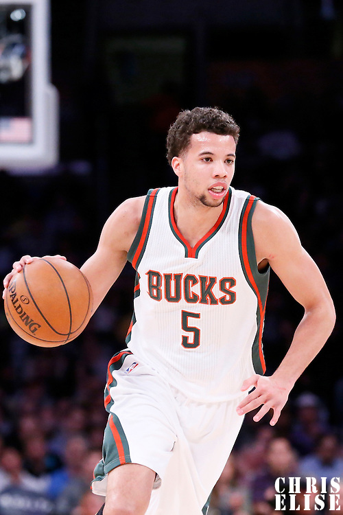 27 February 2015: Milwaukee Bucks guard Michael Carter-Williams (5) brings the ball up court during the Los Angeles Lakers 101-93 victory over the Milwaukee Bucks, at the Staples Center, Los Angeles, California, USA.