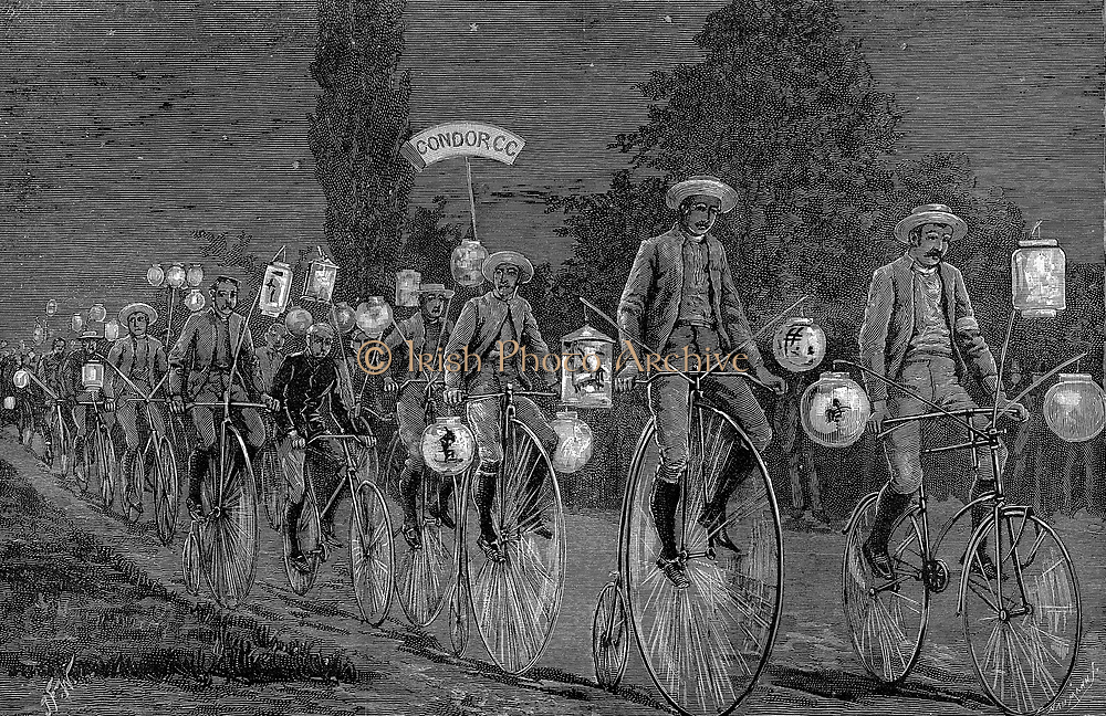 Gathering of the UK cycling clubs at Castle Inn, Woodford, Essex, 1 June 1889. After a day of cycling followed by an evening smoking concert the gathering took a 'Chinese Lantern' ride to Walthamstow. Wood engraving June 1889.