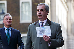 © Licensed to London News Pictures. 15/04/2016. London, UK. UKIP Leader Nigel Farage and UKIP's London Mayoral candidate Peter Whittle deliver letters to 10 Downing Street referencing the recent pro-EU Government communication to all UK households on Friday, 15 April 2016. Photo credit: London News Pictures