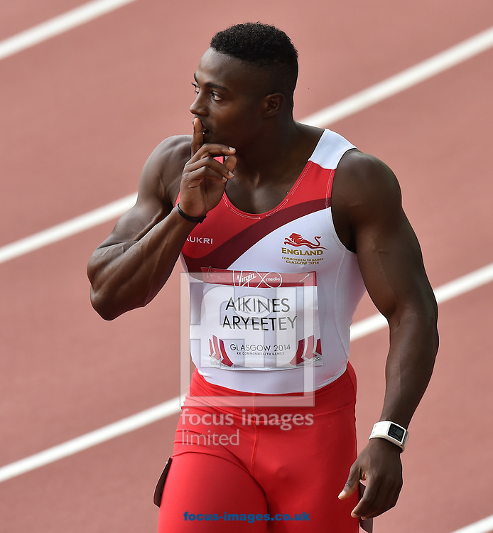 Harry Aikines-Aryeetey (England) fails to qualify for the final competing in the 100m  on day two at Hampden Park, Glasgow<br />