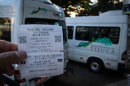 A minibus ticket from Largo do Machado to the Cristo Redentor (Christ statue) at the top of the hill in Rio de Janeiro, Brazil. Photo by Andrew Tobin/Tobinators Ltd