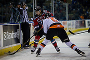 KELOWNA, CANADA - NOVEMBER 5:  Tomas Soustal #15 of the Kelowna Rockets and Kristians Rubins #5 of the Medicine Hat Tigers at the Kelowna Rockets game on November 5, 2016 at Prospera Place in Kelowna, British Columbia, Canada.  (Photo By Cindy Rogers/Nyasa Photography,  *** Local Caption ***