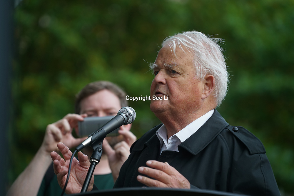 London, England, UK. 28th September 2017. Speaker Bruce Kent of Campaign for Nuclear Disarmament protest and rally to demand Theresa May to Stop Trump and Kim Jong-Un Nuclear threat call for a peaceful solution.