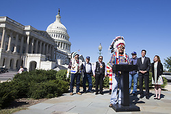 October 3, 2017 - Washington, District Of Columbia, USA - Chairman BRANDON SAZUE of the Crow Creek Sioux Tribe speaks at a press conference introducing the Tribal Heritage and Grizzly Bear Protection Act outside the United States Capitol Building. (Credit Image: © Alex Edelman via ZUMA Wire)