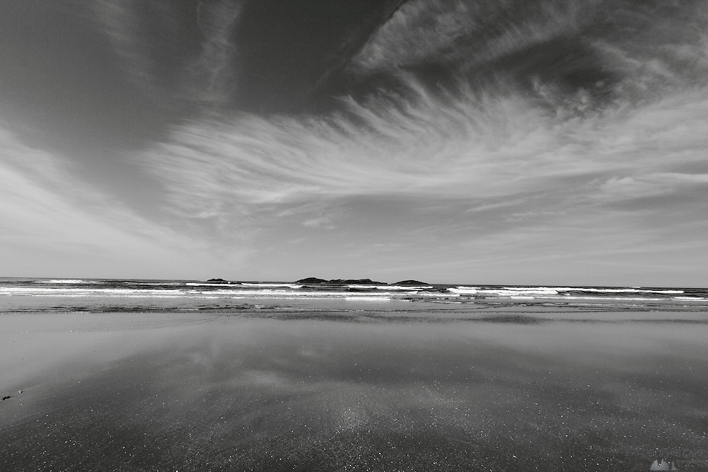 Cirrus clouds swirled across the skies above Long Beach, just south of Tofino in the Pacific Rim National Park on Vancouver Island's western coast