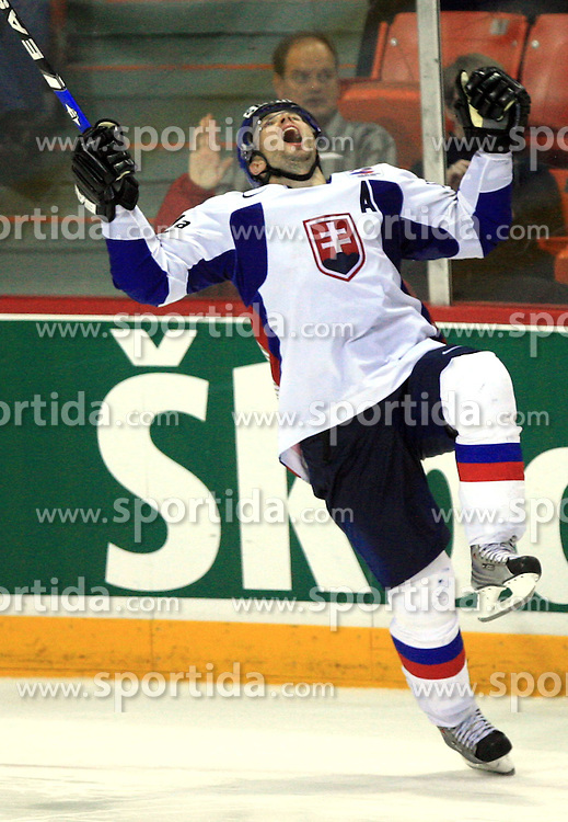 Lubomir Visnovsky of Slovakia celebrates after the final goal at penalty shots at ice-hockey game Slovenia vs Slovakia at second game in  Relegation  Round (group G) of IIHF WC 2008 in Halifax, on May 10, 2008 in Metro Center, Halifax, Nova Scotia, Canada. Slovakia won after penalty shots 4:3.  (Photo by Vid Ponikvar / Sportal Images)