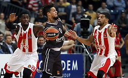 BELGRADE (SERBIA), Nov. 2, 2017  Brose Bamberg's Daniel Hackett (C) vies with Crvena Zvezda's Mathias Lessort (L) and James Fildeine (R) during Euroleague basketball match between Crvena Zvezda and Brose Bamberg in Belgrade, Serbia on Nov. 2. 2017. Brose Bamberg won 75:69  (Credit Image: © Predrag Milosavljevic/Xinhua via ZUMA Wire)