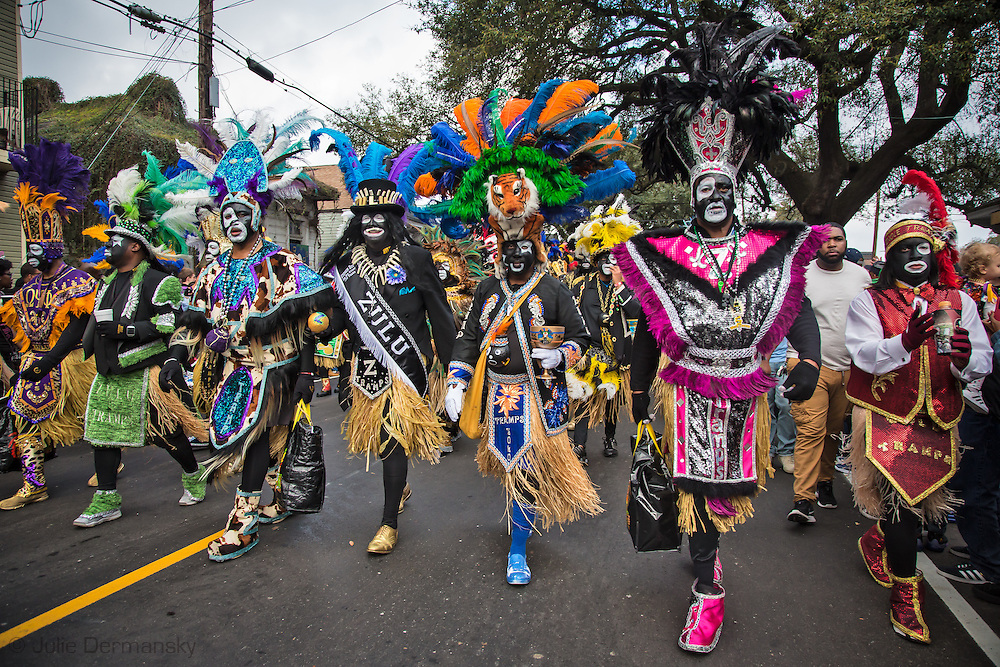 Memebers of the The Krewe of Zulu in the Zulu parade on Mardi Gras day in New Orleans.