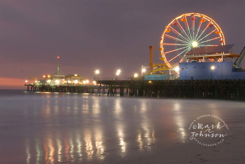 Santa Monica Pier at night, Santa Monica Beach, Los Angeles, California