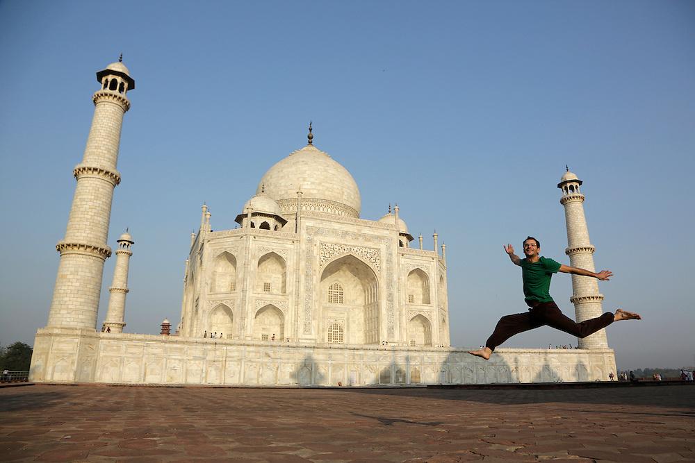 Laurent jumping in front of Taj Mahal, Agra, India