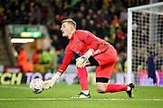 Portsmouth goalkeeper Craig MacGillivray (15) rolls out the ball during the The FA Cup 3rd round match between Norwich City and Portsmouth at Carrow Road, Norwich, England on 5 January 2019.
