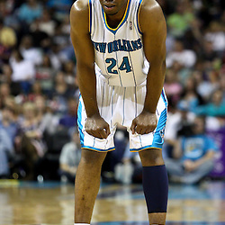 April 1, 2011; New Orleans, LA, USA; New Orleans Hornets power forward Carl Landry (24) against the Memphis Grizzlies during the second half at the New Orleans Arena. The Grizzlies defeated the Hornets 93-81.   Mandatory Credit: Derick E. Hingle