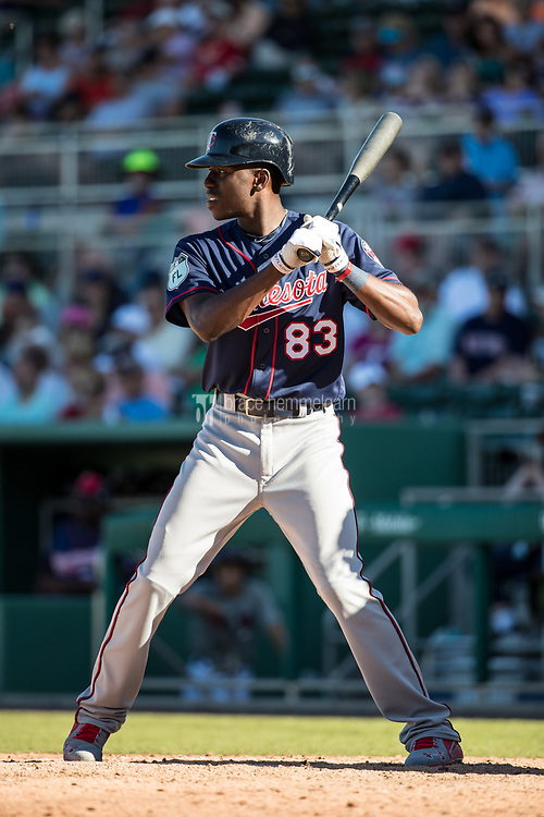 FORT MYERS, FL- FEBRUARY 25: Nick Gordon #83 of the Minnesota Twins bats against the Boston Red Sox on February 25, 2017 at JetBlue Park in Fort Myers, Florida. (Photo by Brace Hemmelgarn) *** Local Caption *** Nick Gordon