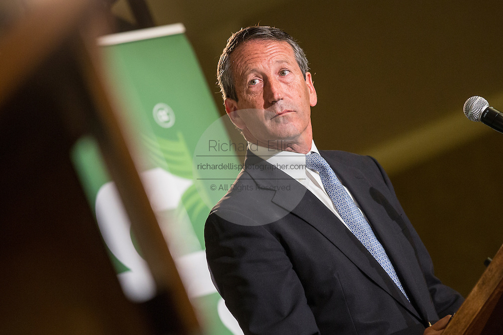 Former South Carolina Gov. Mark Sanford, the Republican candidate for the open Congressional seat listens during a debate against his democratic opponent Elizabeth Colbert Busch at the Citadel on April 29, 2013 in Charleston, South Carolina.