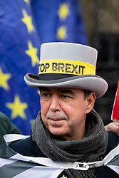 "© Licensed to London News Pictures. 17/12/2019. London, UK. Anti-Brexit campaigner Steve Bray (also known as the ""Stop Brexit Man"") demonstrates in Westminster on the final official day of demonstration by the 'Stand of Defiance European Movement' (SODEM). Steve Bray started the group in September 2017 Photo credit : Tom Nicholson/LNP"