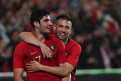 June 7, 2018 - Lisbon, Portugal - Portugal's forward Goncalo Guedes (L) celebrates with defender Raphael Guerreiro after scoring his second goal during the FIFA World Cup Russia 2018 preparation football match Portugal vs Algeria, at the Luz stadium in Lisbon, Portugal, on June 7, 2018. (Portugal won 3-0) (Credit Image: © Pedro Fiuza/NurPhoto via ZUMA Press)