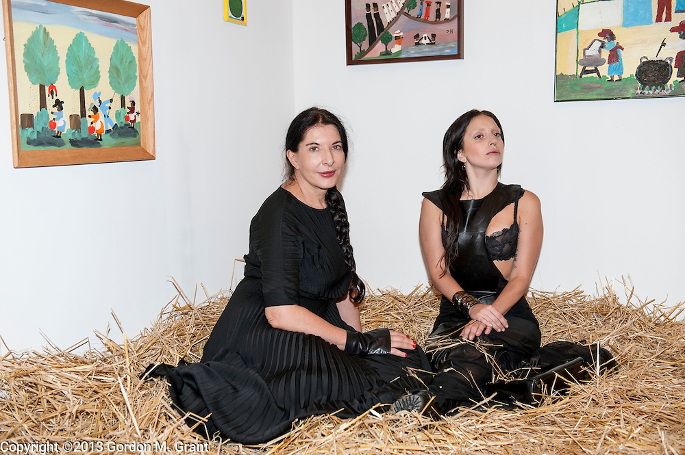 Water Mill, NY - 7/27/13 -  Marina Abramovic, left, and Lady Gaga, inside an art installation at the 20th annual Watermill Center Summer Benefit in Water Mill, NY July 27, 2013. CREDIT: Gordon M. Grant for The Wall Street Journal<br /> NY.Devil'sHeaven