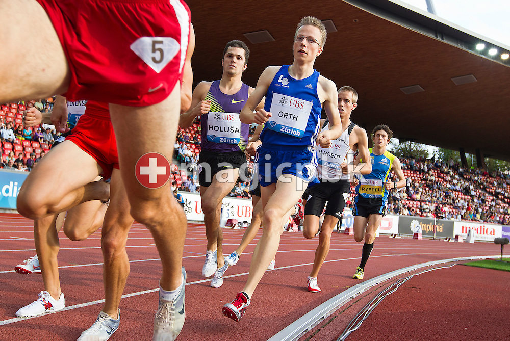 Second placed Florian ORTH (C) of Germany and winner Jakub HOLUSA  (C L) of Czech Republic compete in the men's 1500m U23 Swiss Post Run during the IAAF Diamond League meeting at the Letzigrund Stadium in Zurich, Switzerland, Thursday, Aug. 19, 2010. (Photo by Patrick B. Kraemer / MAGICPBK)