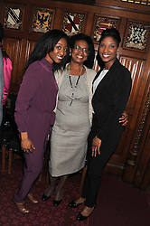 Left to right, singer BEVERLEY KNIGHT, her mother DELORIS SMITH and athlete DENISE LEWIS at a reception for the Stephen Lawrence Charitable Trust hosted by the Speaker of The House of Commons John Bercow and supported by law firm Freshfields Bruckhaus Deringer in The State Rooms, Speaker's House, the House of Commons, London on 19th December 2012.