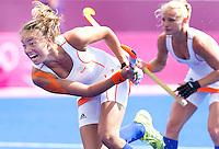 LONDEN - Maartje Paumen weet niet te scoren uit de strafcorner , donderdag tijdens de Olympische hockeywedstrijd tussen de vrouwen van  Nederland en China (1-0).  ANP KOEN SUYK