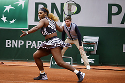 May 27, 2019 - Paris, France - Serena Williams during ladies singles first round match between Serena Williams and Vitalia Diatchenko of Russia during Day two of the 2019 French Open at Roland Garros on May 27, 2019 in Paris, France. (Credit Image: © Ibrahim Ezzat/NurPhoto via ZUMA Press)