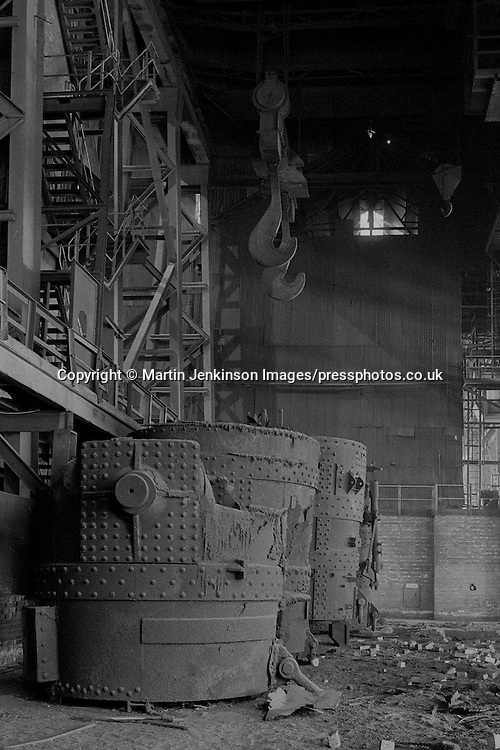 Derelict melting shop at Hadfields Leeds Road Works, Formerley Brown Bayleys.