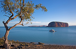 Charter boat, MV Kimberley Escape, anchored off Raft Point in Doubtful Bay. Tourism is steadily increasing on the Kimberley coast.