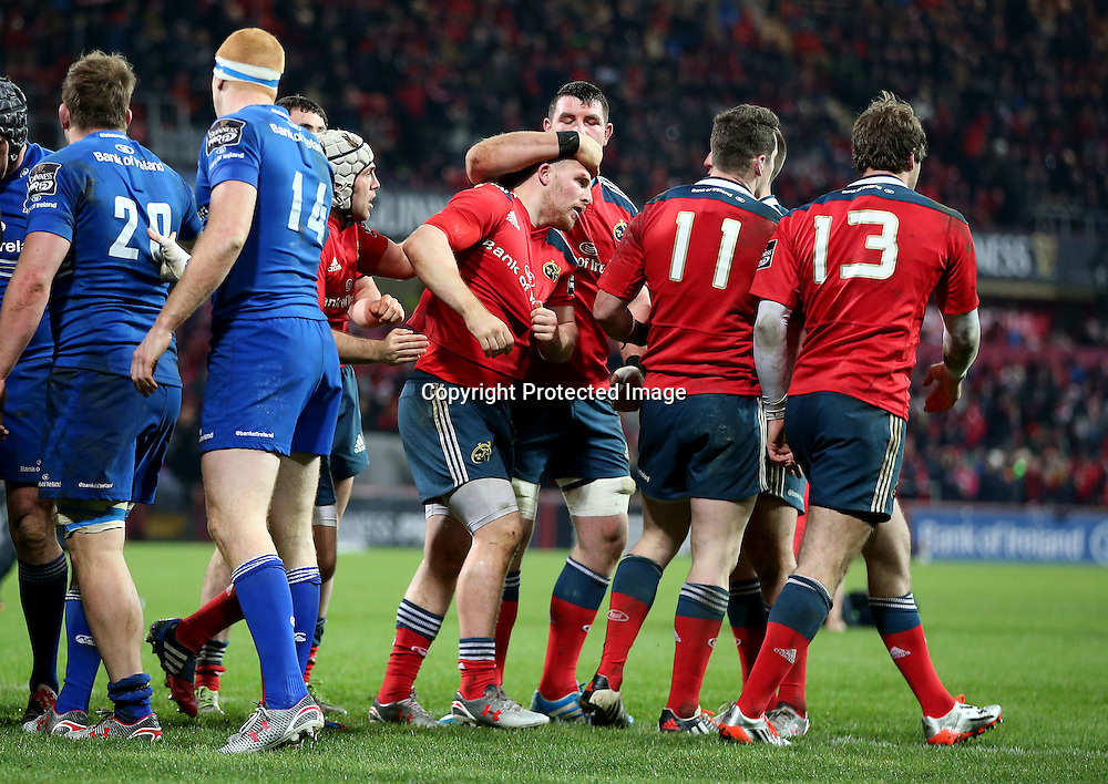 Guinness PRO12, Thomond Park, Limerick 26/12/2014<br /> Munster vs Leinster<br /> Munster's Andrew Conway celebrates his try with Paddy Butler<br /> Mandatory Credit &copy;INPHO/Dan Sheridan