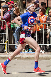 2014 Boston Marathon: runner heads for finish line