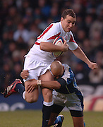 2005 Rugby, Investec Challenge, England vs Manu Samoa, Olly Barley, tackle low by Tanner Vili, as England beat Samoa 40 points to 3, at the  RFU stadium Twickenham, ENGLAND:     26.11.2005   © Peter Spurrier/Intersport Images - email images@intersport-images..