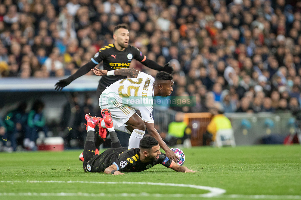 Real Madrid's Vinicius Junior and Manchester City's during the UEFA Champions League round of 16 first leg match Real Madrid v Manchester City at Santiago Bernabeu stadium on February 26, 2020 in Madrid, Sdpain. Real was defeated 1-2. Photo by David Jar/AlterPhotos/ABACAPRESS.COM