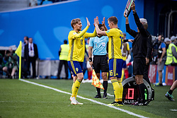 July 3, 2018 - Stockholm St Peterburg, Sweden Russia - FIFA WORLD CUP 2018 Sweden defeated Switzerland 1-0 in St Petersburg, Russia and are ready for the quarter final.  VM 2018 i Ryssland. Sverige - Schweiz, 1 - 0, Ã¥ttondelsfinal, match action landslaget. Foto : PETWIX : VM Ryssland 2018 ( Sankt Petersburg ). Sverige-schweiz. 1-0. Emil Forsberg, Emil Krafth (Credit Image: © WixtrÖM Peter/Aftonbladet/IBL via ZUMA Wire)