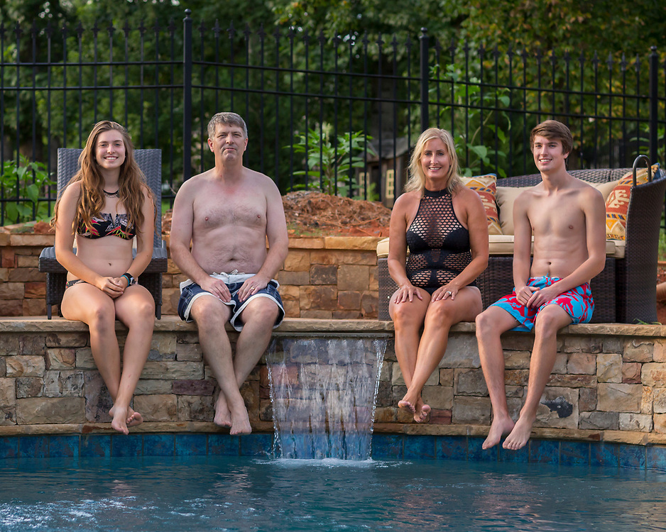 The Warner family tries the new pool, Monday, July 31, 2017 inCumming, Georgia. (Photo/Stephen B. Morton)