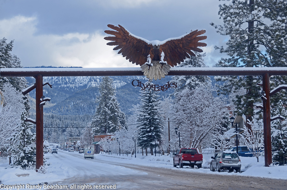 Libby Montana during the winter of 2016-2017. Bald eagle sculpture created by Todd Berget. Lincoln County, northwest Montana.