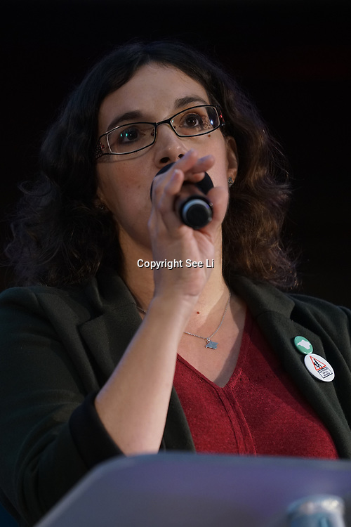 London, UK, 24th October 2017. Speaker Vix Lowthion of the Green Party Education Spokesperson at the Rally Against School Cuts with over 1,000 parents and school staff lobbying more than two-thirds of the MPs in England and Wales at Emmanuel Centre.