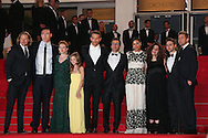 "CANNES, FRANCE - MAY 16:  (2nd L-R) Actors Kevin Durand, Mireille Enos, Peyton Kennedy, Ryan Reynolds, director Atom Egoyan, actress Rosario Dawson, producer Arsinee Khanjian, Arshile Egoyan and actor Scott Speedman attends ""The Captive"" Premiere at the 67th Annual Cannes Film Festival on May 16, 2014 in Cannes, France.  (Photo by Tony Barson/FilmMagic)"