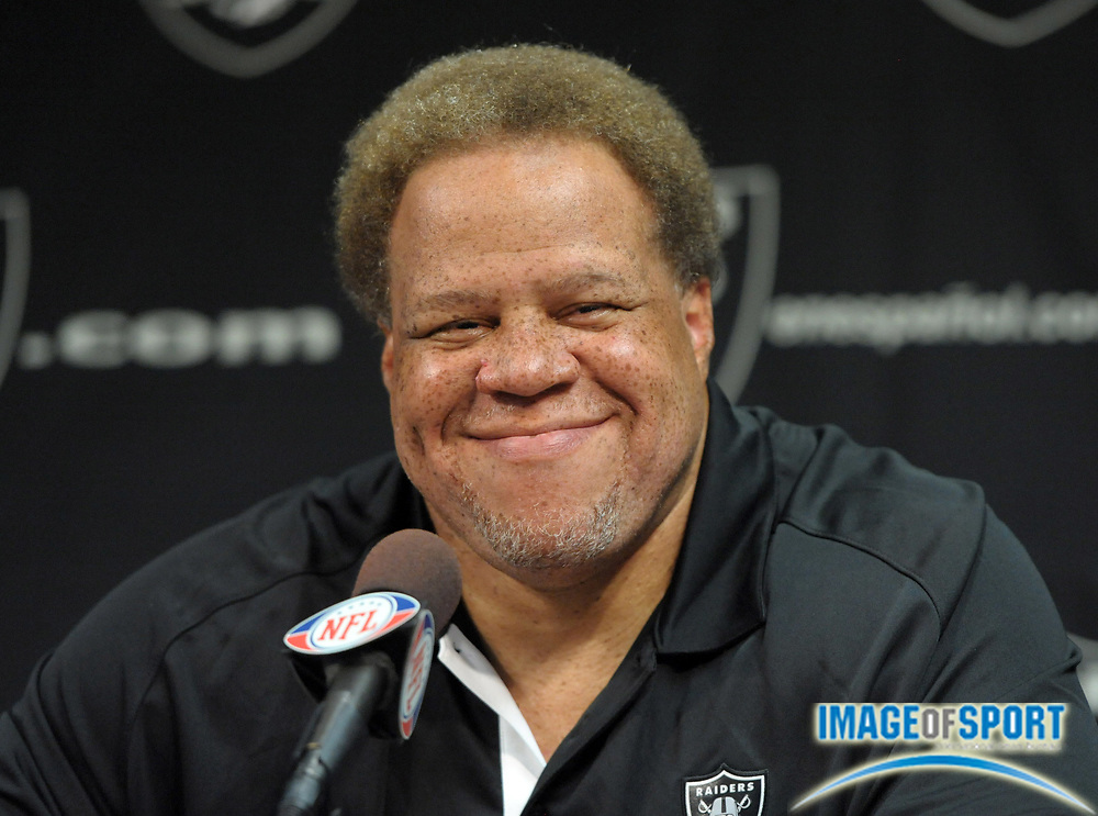 Apr 11, 2012; Alameda, CA, USA; Oakland Raiders general manager Reggie McKenzie at press conference at the Raiders practice facility.