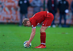 KIRKBY, ENGLAND - Saturday, January 26, 2019: Liverpool's captain Paul Glatzel prepares to take a penalty kick during the FA Premier League match between Liverpool FC and Manchester United FC at The Academy. (Pic by David Rawcliffe/Propaganda)