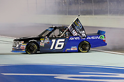 November 16, 2018 - Homestead, FL, U.S. - HOMESTEAD, FL - NOVEMBER 16: Brett Moffitt, driver of the AISIN Group Toyota celebrates winning the NASCAR Camping World Series Championship and the Ford EcoBoost 200 on November, 16, 2018, at Homestead - Miami Speedway in Homestead, FL. (Photo by Malcolm Hope/Icon Sportswire) (Credit Image: © Malcolm Hope/Icon SMI via ZUMA Press)