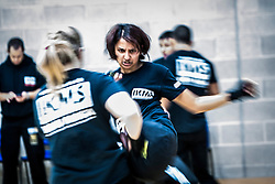 An action image of students, as Franklyn Hartkamp takes the Institute Of Krav Maga Scotland grading today at Stirling.<br /> ©Michael Schofield.