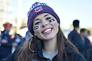 A young lady with her NFL hat and beaming smile during the International Series match between Tennessee Titans and Los Angeles Chargers at Wembley Stadium, London, England on 21 October 2018.