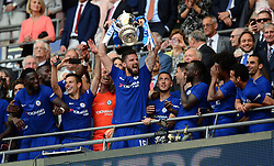Olivier Giroud of Chelsea celebrates with the trophy. - Mandatory by-line: Alex James/JMP - 19/05/2018 - FOOTBALL - Wembley Stadium - London, England - Chelsea v Manchester United - Emirates FA Cup Final