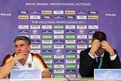 18.06.2011, Bremen Arena, Bremen, GER, FIVB World League, Vorrunde Pool B, Deutschland (GER) vs Bulgarien (BUL), im Bild Raul Lozano (Bundestrainer GER) und nult wahrend der Pressekonferenz // during FIVB World League game, Germany vs Bulgaria, at Bremen Arena, Bremen, 2010-06-18, EXPA Pictures © 2011, PhotoCredit: EXPA/ nph/  Kurth       ****** out of GER / SWE / CRO  / BEL ******