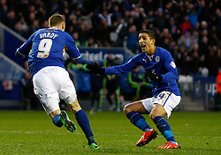 Leicester City's Jamie Vardy wheels away in delight after scoring the first goal and celebrates with Leicester City's Anthony Knockaert - Photo mandatory by-line: Matt Bunn/JMP - Tel: Mobile: 07966 386802 25/01/2014 - SPORT - FOOTBALL - King Power Stadium - Leicester - Leicester City v Middlesbrough - Sky Bet Championship
