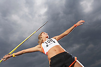 Female athlete throwing javelin against cloudy sky low angle view