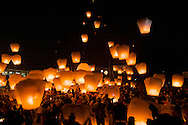 Sky lanterns are released in Pingxi, Taiwan on Chinese Lunar New Year.