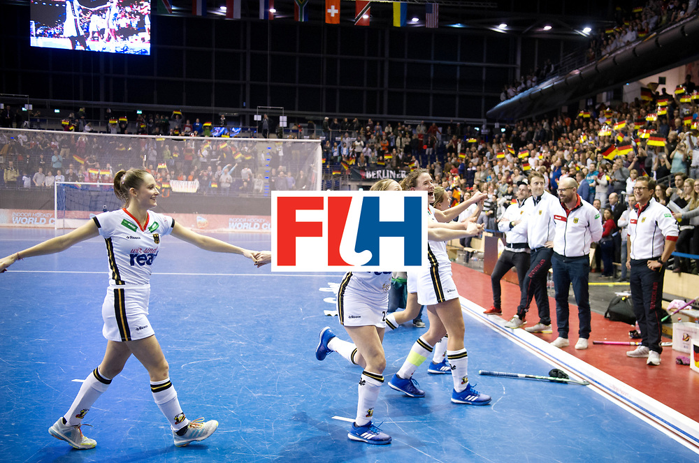BERLIN - Indoor Hockey World Cup<br /> Semi-final: Belarus - Germany<br /> foto: German celebration.<br /> WORLDSPORTPICS COPYRIGHT FRANK UIJLENBROEK