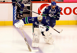 June 10, 2011; Vancouver, BC, CANADA; Vancouver Canucks goalie Roberto Luongo (1) and left wing Daniel Sedin (22) lead the team onto the ice before game five of the 2011 Stanley Cup Finals against the Boston Bruins at Rogers Arena. Mandatory Credit: Jason O. Watson / US PRESSWIRE
