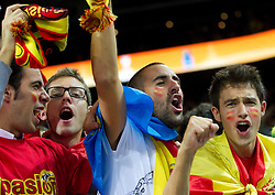 Fans of Spain celebrate after the final basketball game between National basketball teams of Spain and France at FIBA Europe Eurobasket Lithuania 2011, on September 18, 2011, in Arena Zalgirio, Kaunas, Lithuania. Spain defeated France 98-85 and became European Champion 2011, France placed second and Russia third. (Photo by Vid Ponikvar / Sportida)
